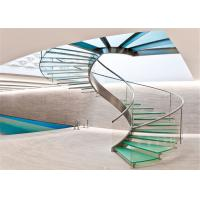 Commercial Stainless Steel Staircase With Tempered Glass Railing PRC-20 Manufactures