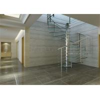 Brushed Stainless Steel Glass Space Saving Spiral Staircase With Rob Railing Manufactures