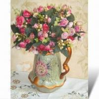 China Artificial Flowers with Floral Vase, Made of Polyester Fabric and Plastic on sale
