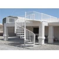 Outdoor / Indoor Metal Spiral Staircase White Power Coating Central Beam Stairs Design Manufactures