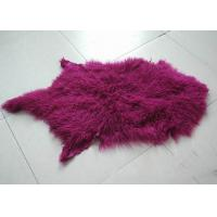 China Purple Long Hairs Mongolian Sheepskin Rug Windproof For Making Winter Garment on sale
