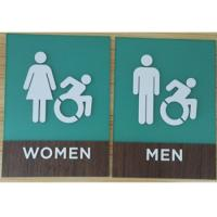 Three Dimensional ADA Compliant Restroom Signage Wood Grain Laminate Clear Grade II Braille Manufactures