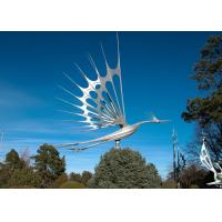 Animal Garden Decoration Stainless Steel Sculpture , Flying Bird Sculpture Metal