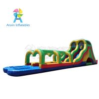 China Rainbow colors Giant adult inflatable water slide pool game with best material1000D Vinyl on sale
