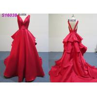 China V Neckline Ruffle Back Bright Red Dress Gown For Wedding , Luxury Wedding Dresses on sale