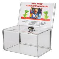 Small Acrylic Fundraise Display Boxes With Lock / Plexiglass Donation Box Manufactures