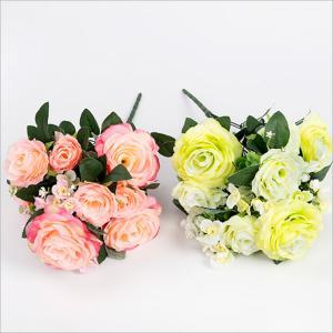 11 Heads Artificial Silk Rose Bush Manufactures
