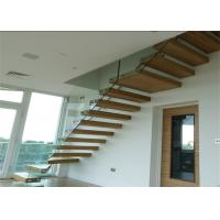 Glass Led Staircase Modern Straight Floating Stairs With Laminate Glass Steps Manufactures