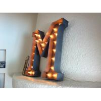 Cheap Custom Decorative LED Vintage Large Metal Letters With Antique Industrial Finish for sale
