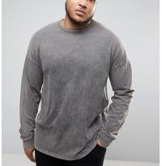 Acid Washed Men'S Oversized Long Sleeve T Shirt , Cool Plus Size T Shirts Manufactures