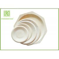 China Round White Disposable Wooden Plates bulk For Fruit 5'' 6'' 7'' 8'' Size on sale