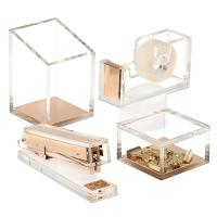 Office Stationery Supplies Set Custom Acrylic Furniture / Acrylic Fancy Tape Dispenser And Stapler Manufactures