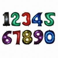 Buy cheap Zero to Nine Number Balloons, Filled with Helium/Hydrogen from wholesalers