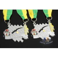 Maration Racking Enamel Medals , Custom Sports Medals With Yellow Green Ribbon Manufactures