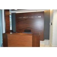China Wooden reception desk and decorative background wall in high glossy painting Walnut plywood board on sale