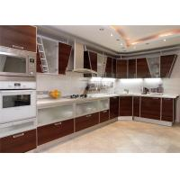 High Gloss Lacquer MDF Kitchen Cabinets Blum / Dtc Hardware With Countertop Sink / Faucet Manufactures