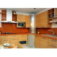 Red / Black Solid Wood Kitchen Cabinets With American Standard Sink And Faucet Manufactures