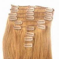 Buy cheap Human Hair Clip Wefts, Available in Silky Straight/Curly Style and Various Sizes from wholesalers