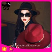 2017 NEW style YIWU fedora boater 57cm 100% Wool felt cowboy cowgirl womens party summer straw hats Manufactures