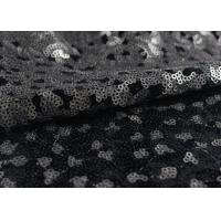 Golden Black Sequin Lace Fabric With 3D Embroidery Fabric For Party Gown Dresses Manufactures