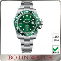 China Luxury Green Dial Stainless Steel Mens Watches Eco Standard Rhodium Plating on sale