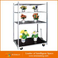 Buy cheap Customized 4 Wheel Flower Cart Trolley with Wooden Panel from wholesalers