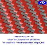 Buy cheap Black / Red 2x2 Twill Carbon Aramid Fabric 200gsm Red Kevlar Para Aramid Fabric from wholesalers