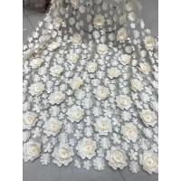 3D Embroidered Flower Beaded Wedding Gown Lace Fabric Anti-static Fashion Manufactures