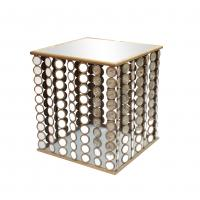 Squre end table with small mirror decorations for Dinning room metal framed Manufactures