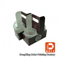 Eco Friendly Take Away Food Packaging , Soy Ink Printing Fancy Paper Coffee Cup Holder Manufactures