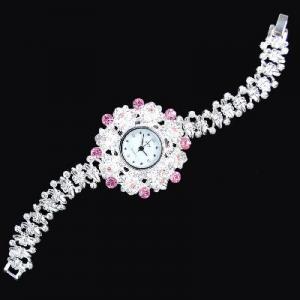 China Antique Silver Crystal Rhinestone Women Girls' Lady Alloy Quartz Adjustable Wrist Watch Fashion Brac on sale