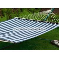 Quality Green White Stripe Outdoor Quilted Fabric Hammock , Large Canvas Free Standing Hammock for sale