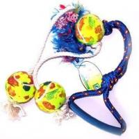 Pet Product Rope Tug Rings With Balls (9865)