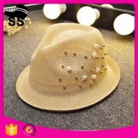 2017 newest summer style 100% Polyester women straw promotional panama fashion wide brim hats with pearl for sale Manufactures