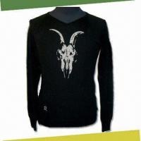 China Men's Knitwear Sweater, Front with Embroidery, Made of 100% Merino Wool on sale