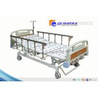 Home care hospital beds with rails , Three Revolving Levers Manual Medical Bed Manufactures