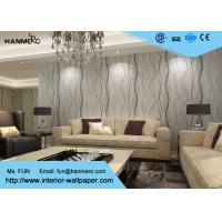Cheap Removable Contemporary Wall Coverings , Modern Nonwoven Striped Wallpaper for Living Room for sale