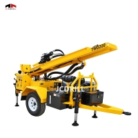 DTH Hydraulic Trailer Borehole Rig With Mud Pump Manufactures