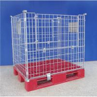 High Strength  Wire Mesh Pallet Cages Reusable Metal Mesh Containers Manufactures