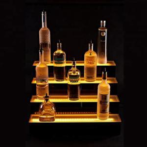 Transparent Led Bottle Display 3 Tier Step Led Wine Stand Led Light Bottle Holder Manufactures
