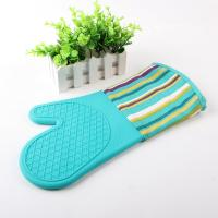 China Half Silicone Half Cotton Heat Insulating Cooking Kitchen Oven Mitts Stripe Pattern on sale