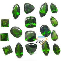 Cushion Chrome Diopside Gemstone Green For Bracelets 5mm 0.6 Carats Manufactures