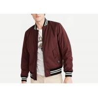 Bomber Jacket Burgundy Mens Padded Polyester Stirp Ribs Triacitate Coat Twin Needle Stitch Manufactures