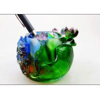 China Colored Glaze Pen Pot / Pen Holder With Animal And Flower Pattern on sale