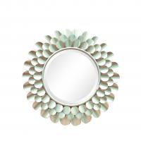 Silver finish sunburst flower shape metal frame wall mirror with centre bevelled mirror Manufactures