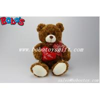 """12""""Dark Brown Stuffed Toy Plush Cuddly Bear With Red Ribbon And Heart Pillow Manufactures"""