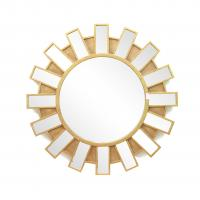 FR-15401 sunburst wall mirror with metal with gold leaf frame for home Manufactures