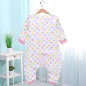China Spring Summer Muslin Baby Pajamas , Organic Newborn Pajamas Cute Printed on sale