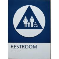 Straight Edge ADA Restroom Signs California Title 24 Unisex Restroom Sign With Blue / White Color Manufactures