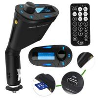 Cheap LCD kit Car MP3 Player Wireless FM Transmitter With USB SD MMC Slot remote Blue for sale